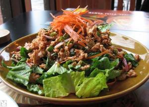 beef larb is one of the loneliest meals you can eat. aimee mann will never call your cell phone as long as you have a phone and a face. you should join netflix and abandon any hope of wooing the carpenter's wife